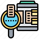 data, files, find, query, searching icon