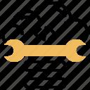 adjustment, cloud, digital, optimization, wrench icon