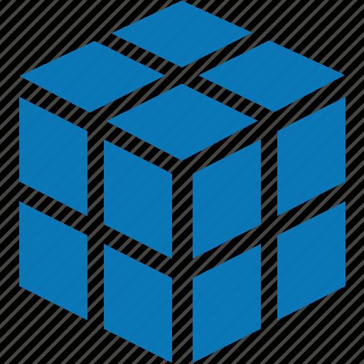 3d, block, box, cube, data, database, registry, rubik's cube icon
