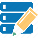 data, databank, database, edit, pencil, redact, server icon