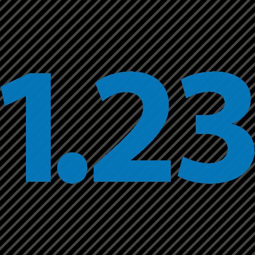 decimal, decimal fraction, digit, float, math, number, numeral, numeric icon