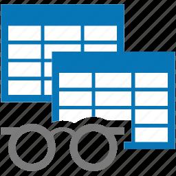 analyse, analyze, copy, documentation, study, table, views icon
