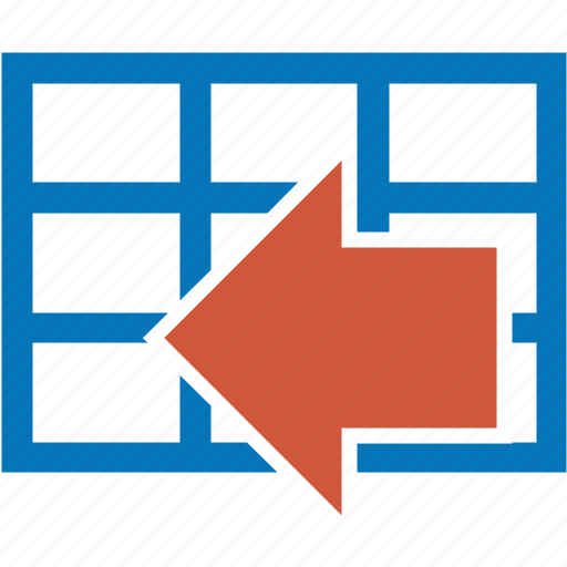 arrow, back, import, left, table icon