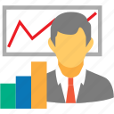 analytics, logistic, logistics, man, presentation, statistics icon