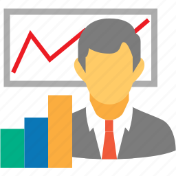 analytics, logistic, logistics, man, presentation, statistics icon
