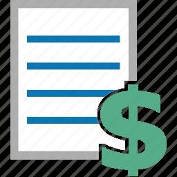 business, finance, list, money, price icon