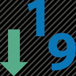 1-9, descend, descending, down, sort, sorting, sorting 1-9 icon