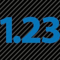 decimal, digit, float, fraction, number, numeral, numeric icon