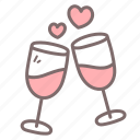 alcohol, cheers, drink, glass, wine icon