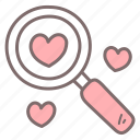 find, heart, love, magnifier, romance, search, valentine