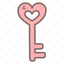heart, key, lock, love, open, security, valentine icon