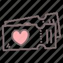 heart, love, movie, romance, ticket, valentine