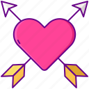arrow, heart, love, with icon