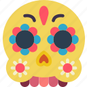 day of the dead, dead, mask, mexican, mexico, skull, tradition icon