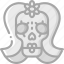 day of the dead, dead, lady, mexican, mexico, scull, skull icon
