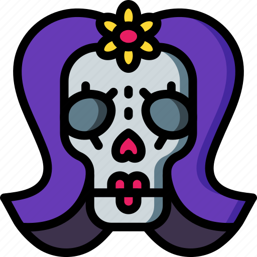 day of the dead, dead, lady, mexican, mexico, skull, tradition icon