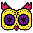 day of the dead, dead, mexican, mexico, owl, tradition icon
