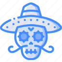 day of the dead, dead, mexican, mexico, skull, tradition icon