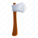 axe, construction, hand, tree, work