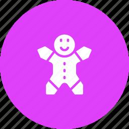 christmas, cookie, dessert, ginger, man, sweet icon