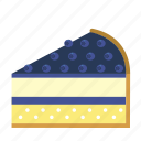 bakery, blueberry, cake piece, cake slices, dessert, food, sweets icon