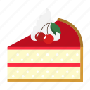 bakery, cake slice, cherry, dessert, food, pie, sweets icon