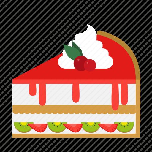 bakery, cake, cake slice, dessert, food, fruit, sweets icon