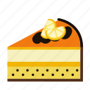 bakery, cake, cake piece, cake slice, food, orange, sweets icon