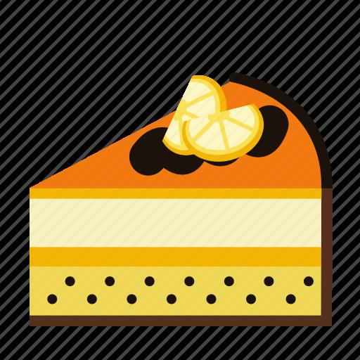 bakery, cake, cake piece, cake slice, food, orange, sweets icon