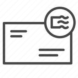 delivery, mail, parcel, registered, shipping, stamp icon