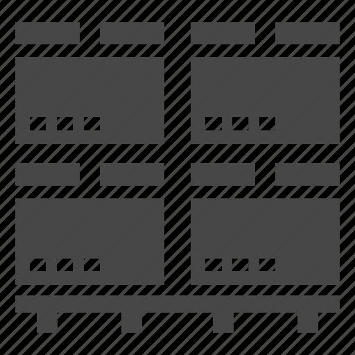 cargo, crates, warehouse icon