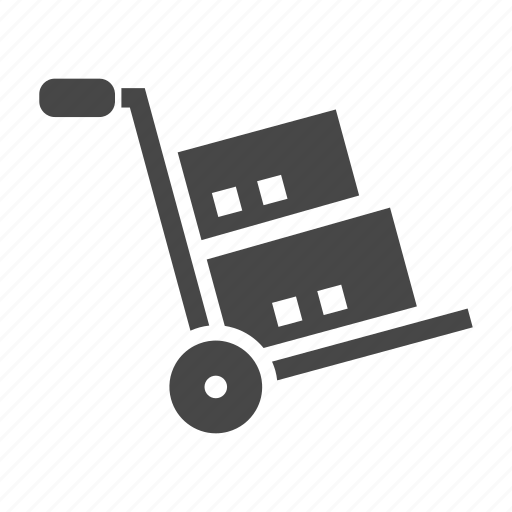 boxes, cargo, hand, truck icon
