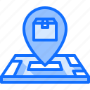 box, delivery, location, map, parcel, pin, warehouse