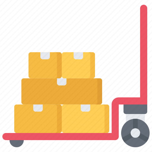 box, cart, courier, delivery, parcel, trolley, warehouse icon