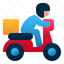 delivery, delivery man, logistic, man, motorcycle, package, transportation