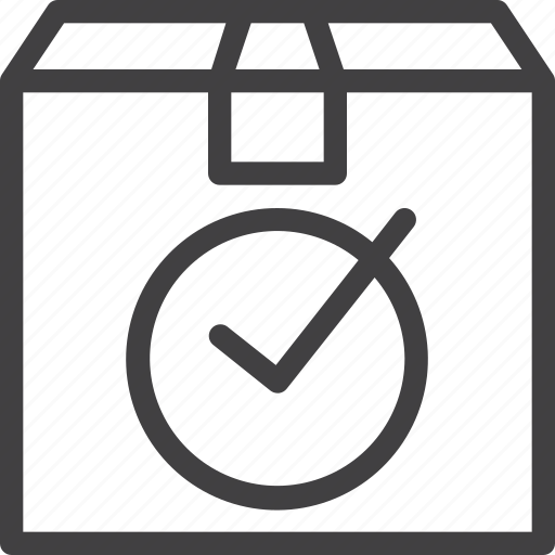 box, check, delivered, mark, package icon