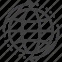 around, arrows, globe, shipping, worldwide icon