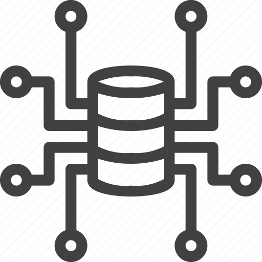 central, connections, network, node, server icon