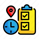 checklist, gps, time, location, pin, delivery, clock