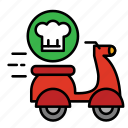 cook, delivery, food, motocycle, move, shipping icon