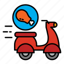 chicken, delivery, fast food, food, food delivery, motocycle, shipping icon
