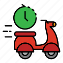 24hr, delivery, fast food, food, motocycle, move, shipping icon