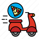 delivery, fast food, food, food delivery, motocycle, pizza, shipping icon