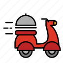 cook, delivery, food, food delivery, motocycle, shipping icon