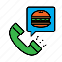 call, call center, delivery, food, hamburger, order, service icon