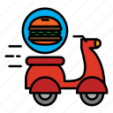 delivery, food, food delivery, hamburger, motocycle, shipping icon
