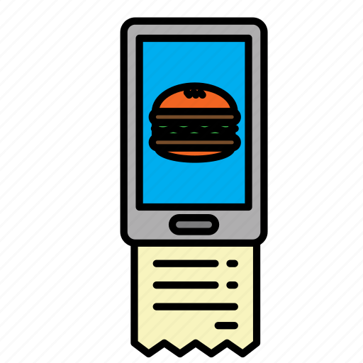 burger, delivery, hamburger, mobile, order, receipt, smart pay icon