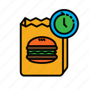 24hr, delivery, fast food, food, hamburger, packing icon