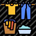 basket, clothes, drying, laundry, washing