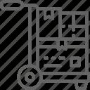 delivering, delivery, distribution, logistics, parcel, transportation, wheelbarrow icon